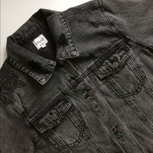 Vintage Inspired Cropped Denim Jacket with Roses